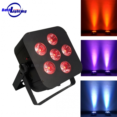 6X18W RGBWA UV 6 IN 1 Battery Power Wireless DMX LED Flat Par with RF REMOTE