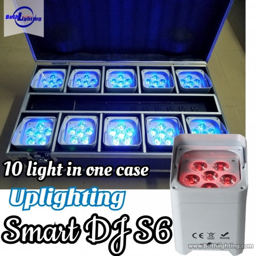 SMART DJ 6x18w RGBWA UV 6in1 wireless dmx LED Uplighting